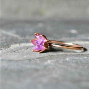 Unique Amethyst Lotus Flower Ring